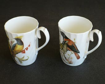 Bone China Mugs, Cups, Porcelain, House of Global Art, Made in England,Birds, Swirl Design, Red, Yellow,