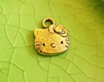 5 gold Hello Kitty charms pendants face cat kitteh kitten Free Combined Shipping 13mm x 11mm - C0285-5