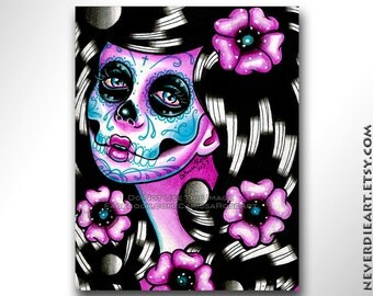 Sugar Skull Girl Signed Limited Edition Art Print - Penelope - Day of the Dead Tattoo Illustration Flash - 2 of 25 - 5x7 in