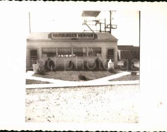 Digital Download, Vintage Diner, Hamburger Heaven, Vintage Photo, Black & White Photo, Found Photo, Old Photo, Printable, Snapshot