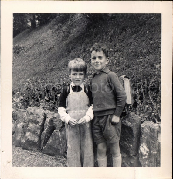 Digital Download, Two School Boys in Countryside, Vintage Photo, Black & White Photo, Old Photo, Printable, Snapshot, Vernacular  0166