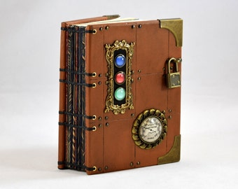 Steampunk Leather Journal with Brass Lock and Key // Hardback Artist Sketchbook
