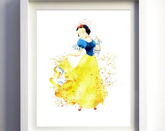 SNOW WHITE Dancing - Childrens bedroom WATERCOLOUR illustraion art - Print-at-Home, easy fast and unique gift idea