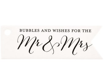 Mr. & Mrs. Bubble Wedding Decor Thank You Favor Gift Tags - Set of 24