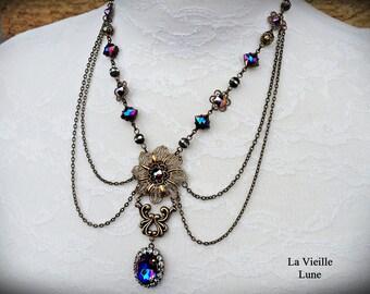 Rainbow Iris Victorian Necklace, Purple Gothic Necklace, Jewel Necklace, Victorian Jewelry