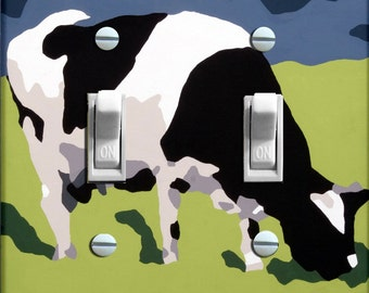 COW Switch Plate by Kristen Anderson (double)  - - FREE SHIPPING - -