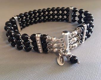 Black Bracelet in Swarovski Mystic Black Pearl Bridal Bracelet with silver Rhinestone in 3 multi strands mother of the bride