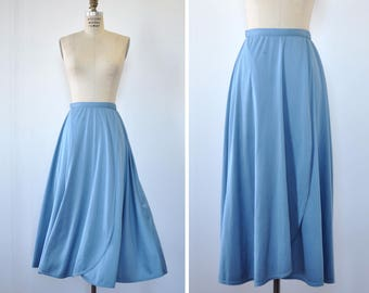 70s Wrap Skirt • Twirl Skirt • Vintage Wrap Skirt • Blue Skirt • Tea Length Skirt • Flowy Skirt • Flare Skirt • Knit Skirt | SK485