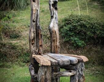 Driftwood Statement Chair,Drift wood Chair, Driftwood Garden Seat,Coastal Garden, Driftwood chair, Driftwood Garden furnitute Cornwall UK