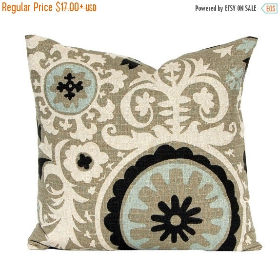 15% Off Sale Decorative Throw Pillow Covers, Toss Pillows, Sofa Pillows, Couch Pillows, Suzani in Stone Denton by Premier Prints Black Pillo