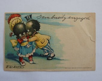 "Vintage F. G. Long Postcard ""I am busily engaged"" -  Postmarked from the early 1900's - Children Kissing"