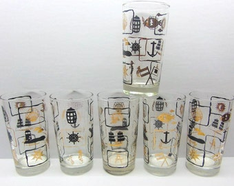 Vintage Nautical Glasses , High Ball  Drinking Glasses , Black and Gold Drinking Glasses