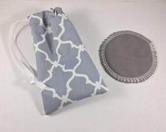 Menstrual Cup Bag Gray Quatrefoil