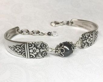 Vintage Spoon Bracelet, Black Crystal Pearl, Silverware Jewelry, Customizable Bracelet - 'Arcadia' 1938