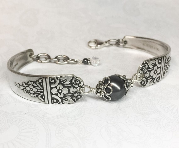 Vintage Spoon Bracelet, Black Crystal Pearl, Customizable Silverware Jewelry 'Arcadia' 1938