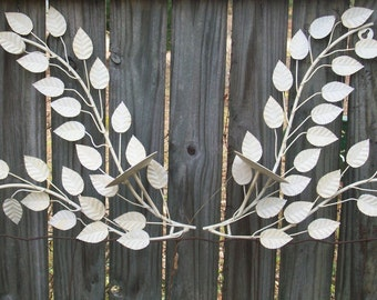 White Shabby Chic Rustic Metal Wall Sconces with Leaf Pattern