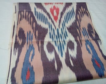Uzbek traditional woven cotton ikat fabric by meter. F008