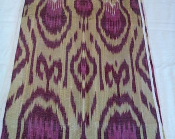 Uzbek traditional handwoven silk ikat fabric by meter. F014