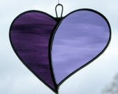 """Stained Glass ornament (Love Heart) """"When Two Hearts become One"""" in purples and grape glass"""