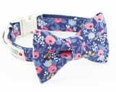 Les Fleurs Rosa Floral Navy Dog Bowtie Collar - Rifle Paper Co.