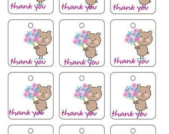 Printable Square Thank You Gift Tags Labels PDF Crochet Knit PDF only