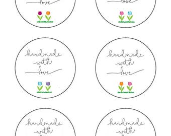 Crochet Spring Time Tulips Circle Gift Tags Labels PDF Handmade for you crochet for you Labels Printable PDF only