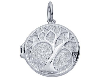 "Sterling Silver Rhodium-Plated ""Tree of Life"" Locket Pendant"