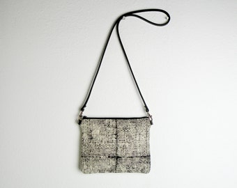 Handmade Tiny Purse in Black and White Maze - Small Canvas Cross Body Bag - Handmade Block Printed with Leather Strap