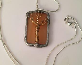 Amber glass twisted tree