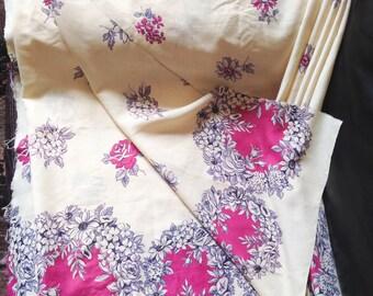 1940s Cream magenta lilac border print rayon fabric / 40s semi sheer printed pink novelty print dress fabric 6 m