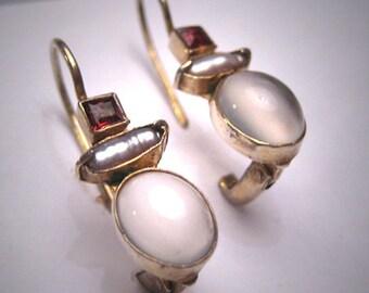 Vintage Moonstone Garnet Pearl Earrings Victorian Drop Style
