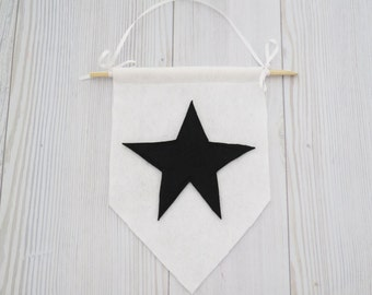 Felt flag , star banner , wall hanging , black and white wall art , black and white room, kids room decor