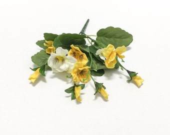 One Bunch YELLOW Mini Pansies - Artificial Flowers, Flower Crown, Halo, Wedding Crown, Millinery, Hair Accessories, Boutonniere,Silk Flowers