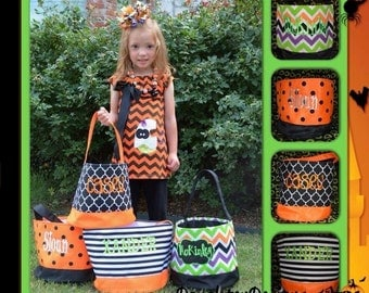 Halloween bucket, Personalized Halloween tote, Halloween tote, Personalized Halloween bucket, custom Halloween, Personalized or Monogrammed
