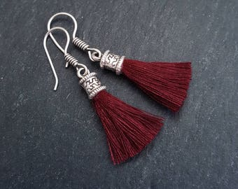 Mini Burgundy Tassel Drop Earrings - Bohemian Boho Style Light Comfortable Daytime Jewelry - Authentic Turkish Style