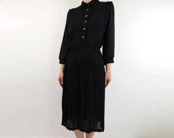 VINTAGE Sheer Black Dress Pleated Shirt Dress