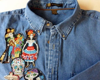 Day of the Dead Shirt Size XL Fabric Art Denim Shirt Paseo de los Muertos Shirt  One-of-a-Kind Shirt Gift for Him Gift for Her