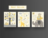 Yellow gray Nursery art B...