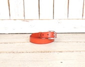 Rust brown thick leather vintage belt/silver buckle belt/38