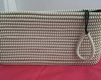 Vintage beige 50s 1950s telephone cord clutch purse viva VLV