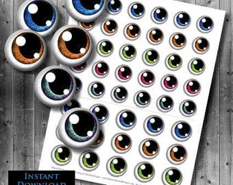 Anime Eyes Printable Instant Download - Digital Collage Sheet - 25mm, 30mm, 35mm - 3 Sizes Included