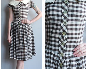 1950s Dress // Plaid Sue Brent Dress // vintage 50s dress