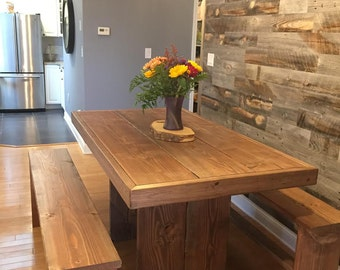 7 foot farm table with benches