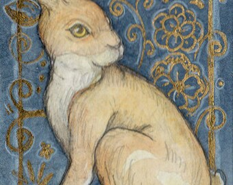 Medieval Hare....Original ACEO