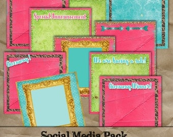 Social Media Graphics Pack For Business Instant Download elements commercial use Add Your Own Text DIY giveaway special announcement events