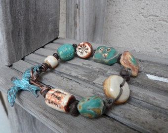 Boho Pottery Funky Bracelet Love Word Bead Blue Denim Turquoise