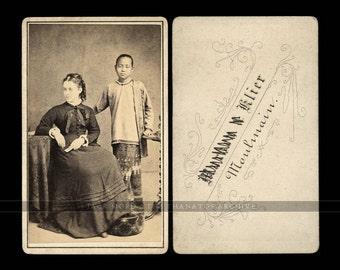 Rare CDV Photo Woman & Burmese Servant Girl / Attendant - Moulmein Burma 1870s