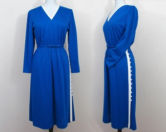 Royal Blue Dress by Leslie Fay - 1970s poly dress with side button detailing - Med