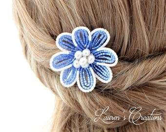 Small Blue French Beaded Flower Hair Clip with freshwater pearls, bridesmaid wedding hair piece, beaded accessory,