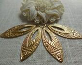 Large Brass Deco Tear Drop Pendant